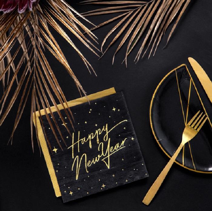 Zdjęcie slidera - Serwetki Happy New Year, czarny, 33x33cm, 20 szt.