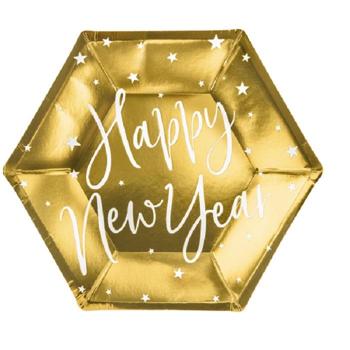 Zdjęcie w galerii - Talerzyki Happy New Year, złoty, 20cm, 6 szt