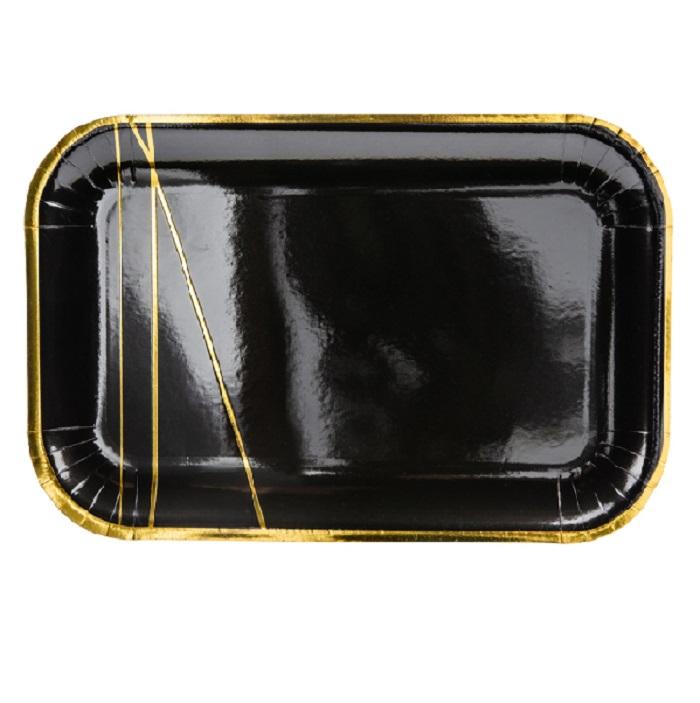 Zdjęcie w galerii - Talerzyki, czarny, 22×13,5cm, 6 szt.