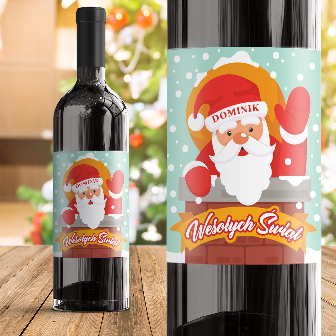 Zdjęcie w galerii - ETYKIETA na Wino Św. Mikołaj w Kominie PERSONALIZOWANA