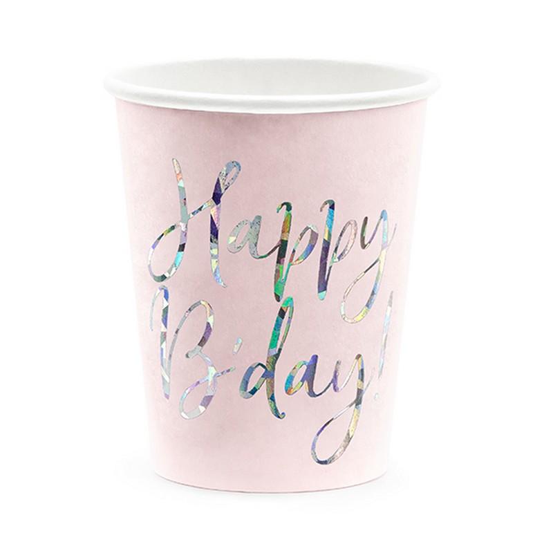 Zdjęcie w galerii - KUBECZKI papierowe Happy B'day! Holograficzny napis 6szt