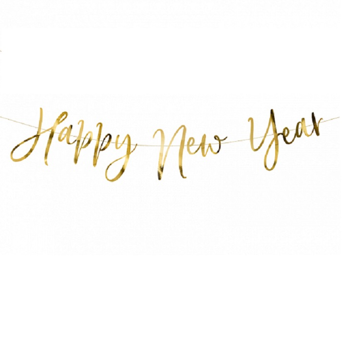 Zdjęcie w galerii - Baner Happy New Year, złoty, 66x18cm