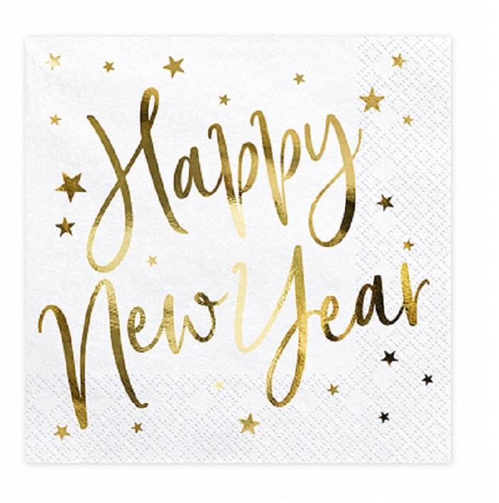 Zdjęcie w galerii - Serwetki Happy New Year, biały, 33x33cm, 20szt