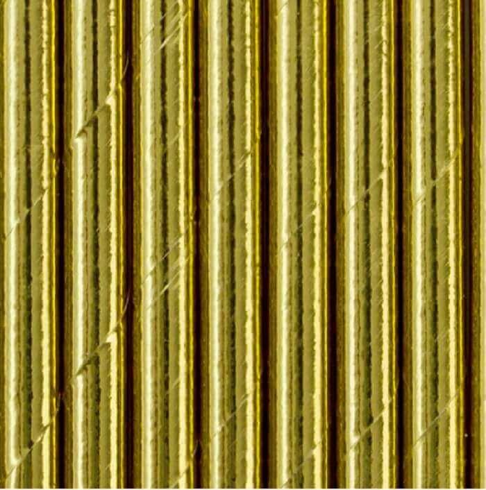 Papierowe słomki, w złotym, metalizowanym kolorze