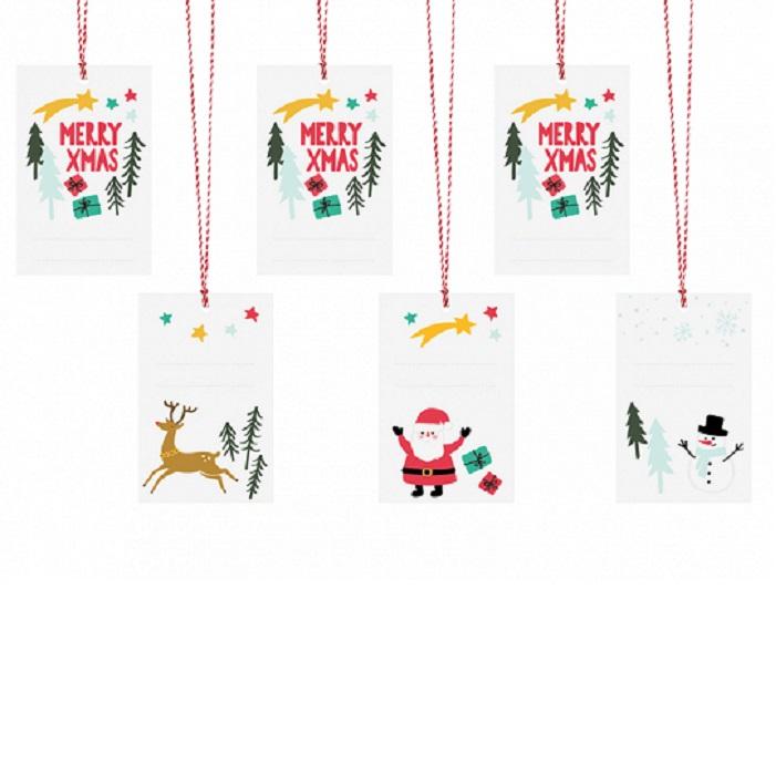Zdjęcie slidera - Zawieszki do prezentów Merry Xmas, mix, 5,5×8,5cm, 6 szt.