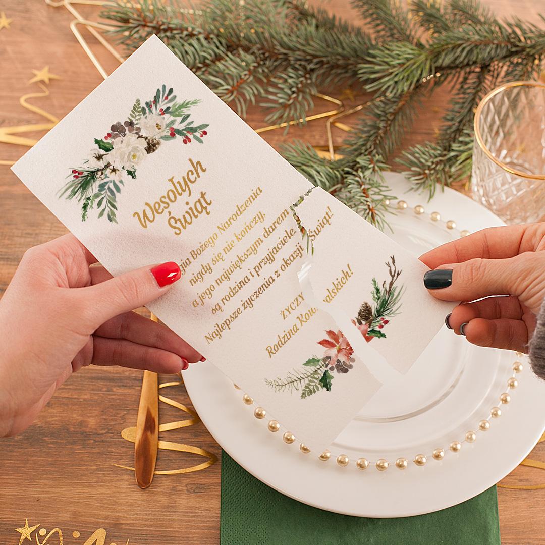 Zdjęcie w galerii - OPŁATEK Wigilijny Świąteczne Gałązki z życzeniami PERSONALIZOWANY