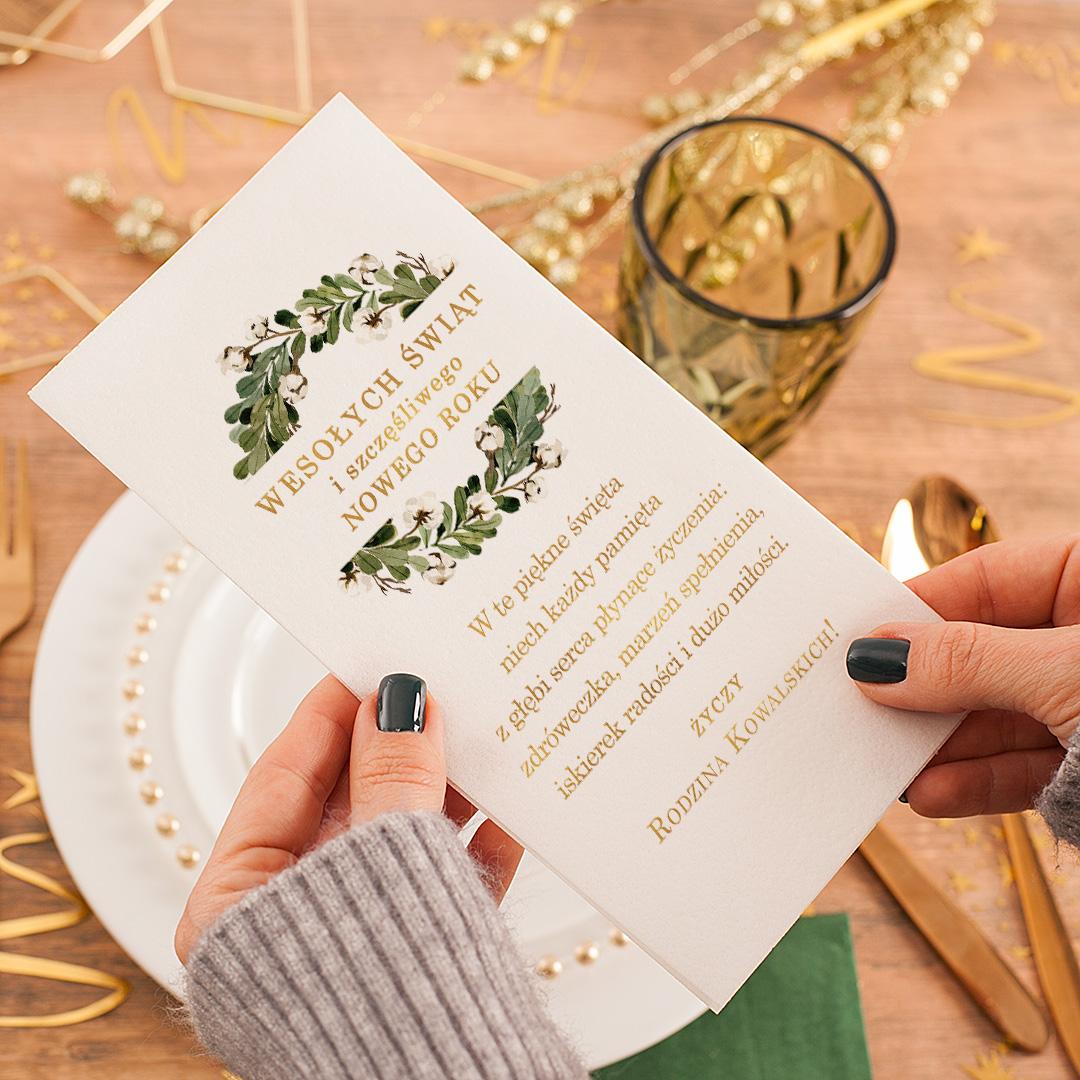 Zdjęcie slidera - OPŁATEK Wigilijny z Życzeniami Świąteczny Zielony Wianek PERSONALIZOWANY