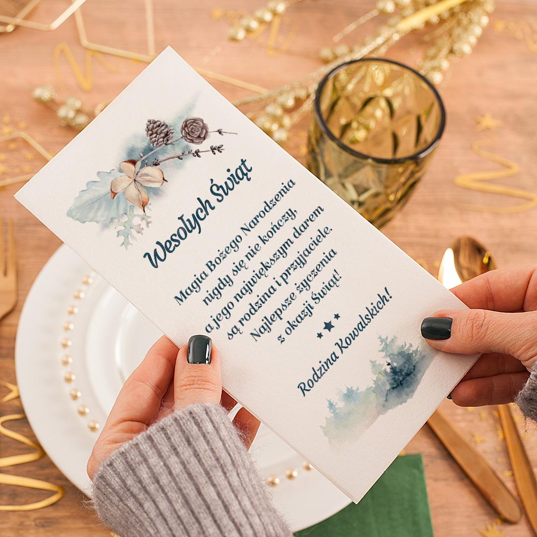 Zdjęcie slidera - OPŁATEK Wigilijny z Życzeniami Zimowa Gałązka PERSONALIZOWANY