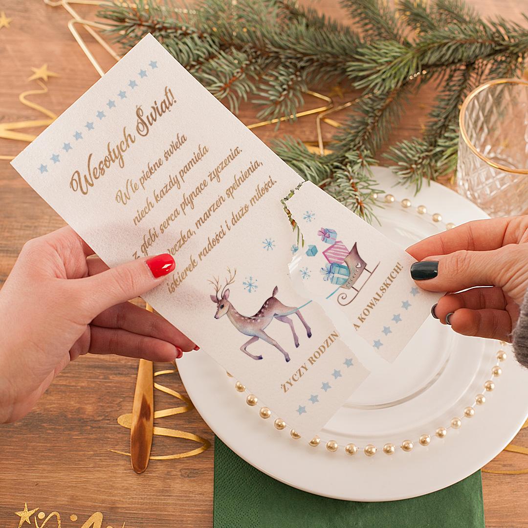 Zdjęcie w galerii - OPŁATEK Wigilijny Świąteczny Jelonek z Życzeniami PERSONALIZOWANY