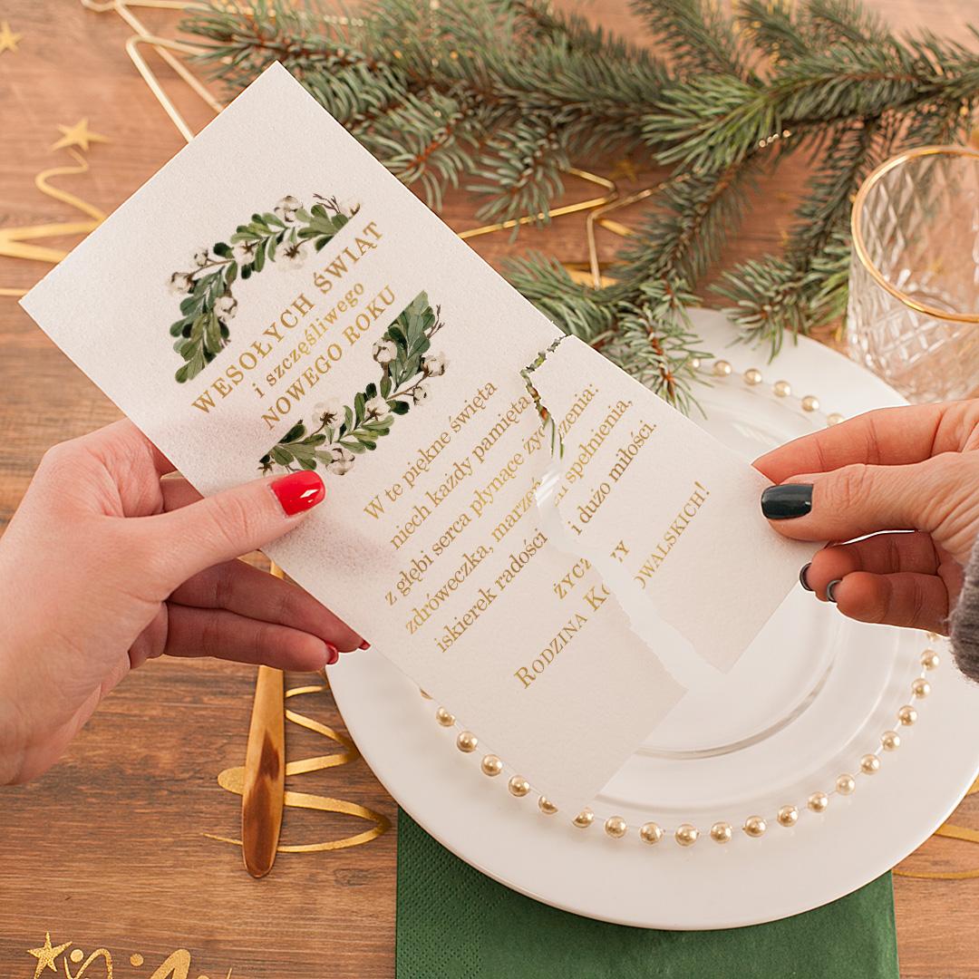 Zdjęcie w galerii - OPŁATEK Wigilijny z Życzeniami Świąteczny Zielony Wianek PERSONALIZOWANY