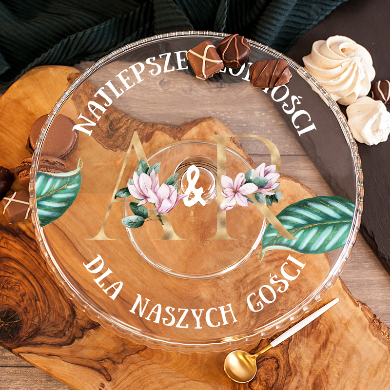 Zdjęcie slidera - PATERA na Ciasto z Inicjałami Prezent dla Pary Młodej PERSONALIZOWANA