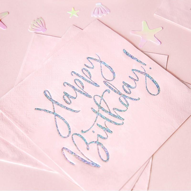 Pudrowo-różowe serwetki papierowe z holograficznym napisem Happy Birthday