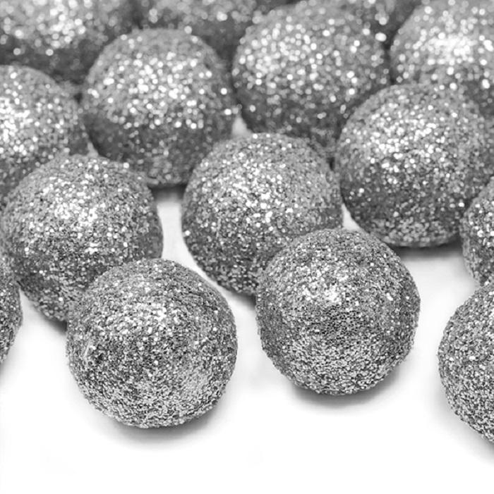 Zdjęcie w galerii - Dekoracje brokatowe Kula, srebrny, 2cm, 25 szt.