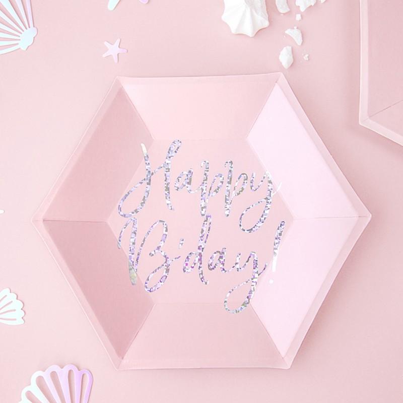 dziewczęce talerzyki papierowe w różowym kolorze z błyszczącym napisem Happy B-day!