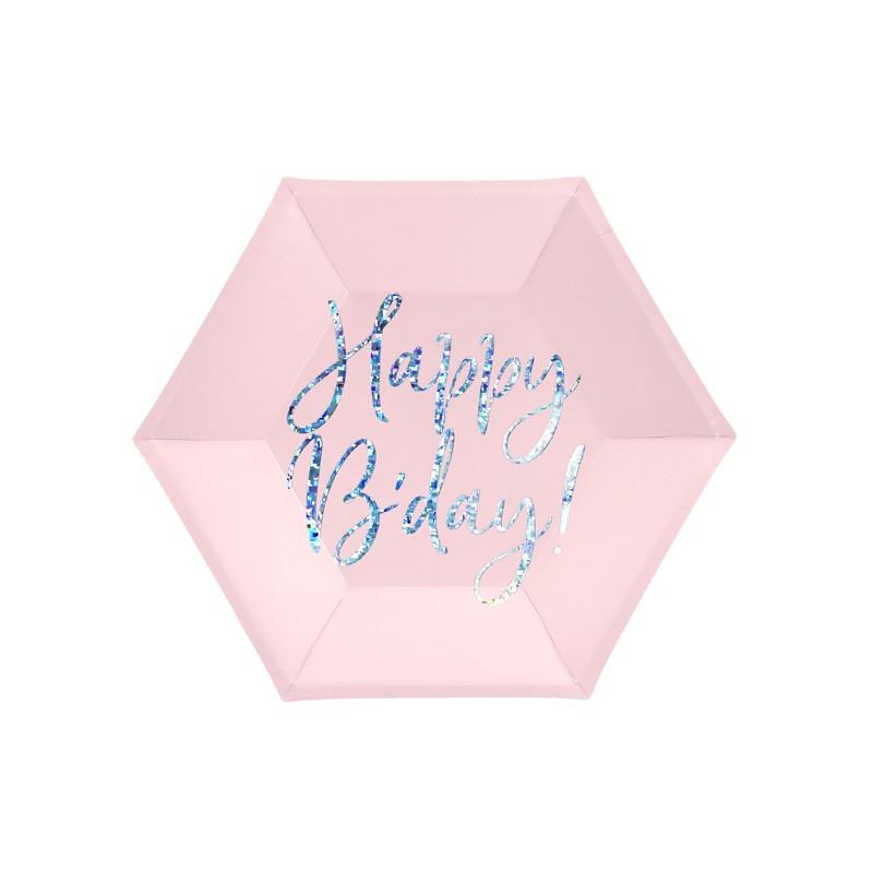 Zdjęcie w galerii - TALERZYKI papierowe Happy B'day! Holograficzny Napis 6szt