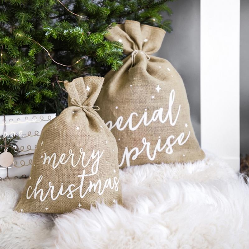 Worki na prezenty z napisami i różnymi wymiarami. Worki idealnie nadają się na prezenty. Dekoracja świąteczna