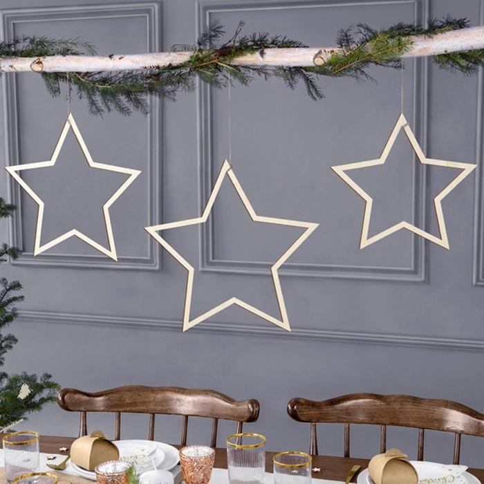 Zdjęcie slidera - ZAWIESZKI drewniane świąteczne Bożonarodzeniowe Gwiazdki