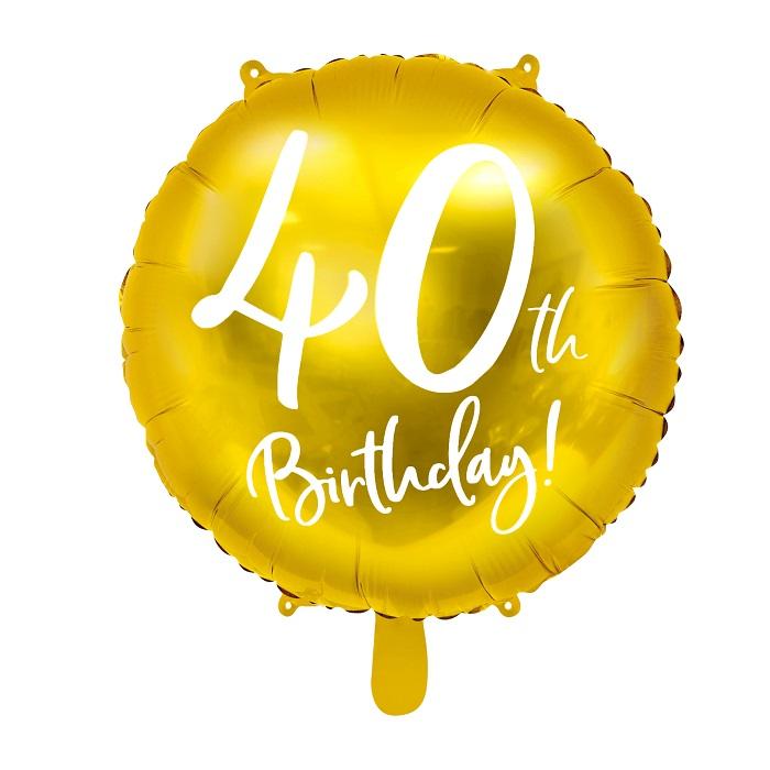 Zdjęcie w galerii - BALON foliowy Złoty na 40 Urodziny!