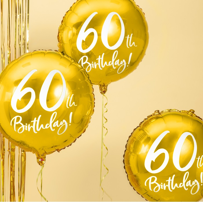 foliowy balon na 60 urodziny, metalizowany w pięknym w kolorze złotym, z białym napisem 60th Birthaday!