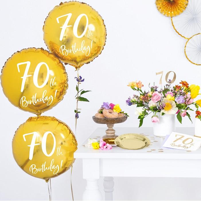 Zdjęcie w galerii - BALON foliowy Złoty na 70 Urodziny!