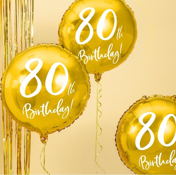 foliowy balon na 80 urodziny, metalizowany w pięknym w kolorze złotym, z białym napisem 80th Birthaday!