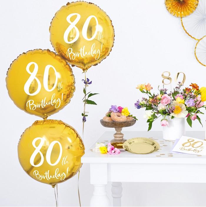 Zdjęcie w galerii - BALON foliowy Złoty na 80 Urodziny!