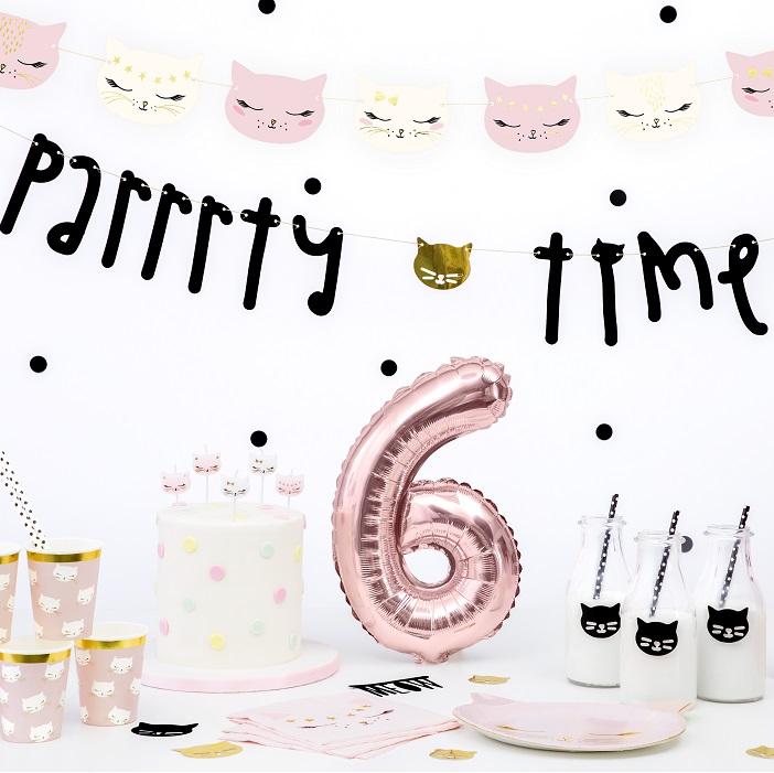 zabawny baner na urodzinki dla dziecka z kolekcji Kotek, napis Parrrty Time z główką kotka