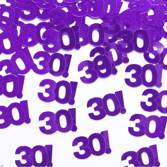 pięknie połyskuje konfetti w kolorze fioletowym, na 30 urodziny