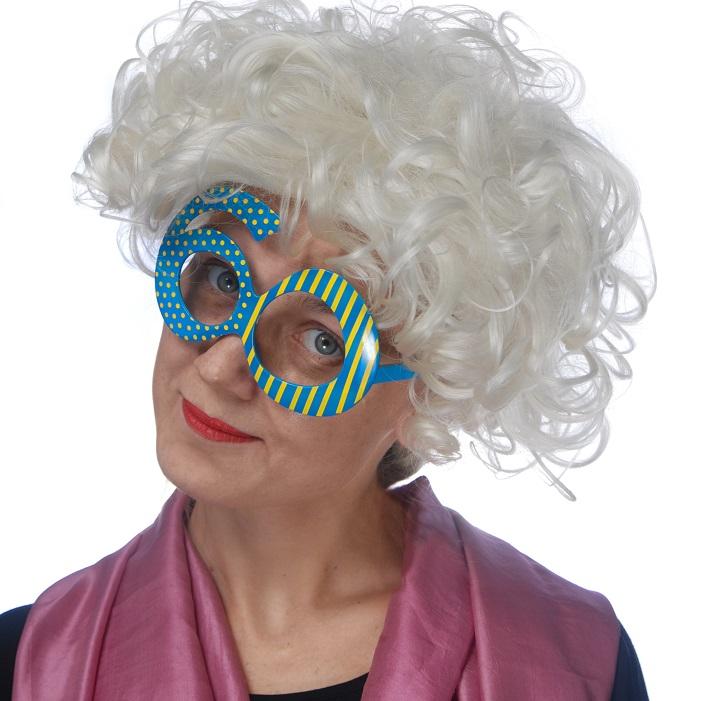 zabawne,kolorowe okulary w formie cyfry 60, idealne przebranie na przyjęcie urodzinowe