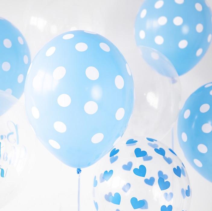 Zdjęcie w galerii - Balony 30cm, Serduszka błękitne, Crystal Clear, 6 szt