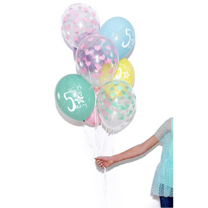 Zdjęcie w galerii - Balony 30cm, Serduszka jasnoróżowe, Crystal Clear, 6 szt