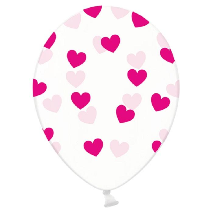 Balony lateksowe Strong w pięknym kolorzeCrystal Clear, nadruk w kolorze fuksjowym, pięciostronny nadruk w kształcie małych serduszek,