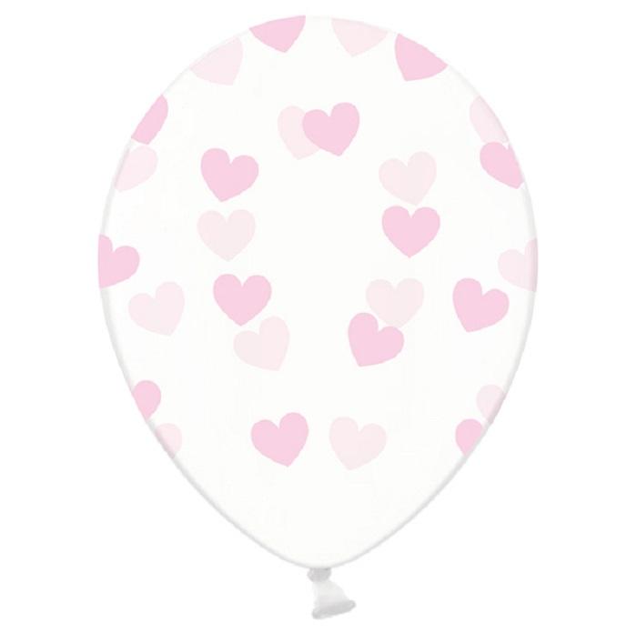 Balony lateksowe Strong w kolorzeCrystal Clear, z jasnoróżowym pięciostronnym nadrukiem w kształcie serduszek,