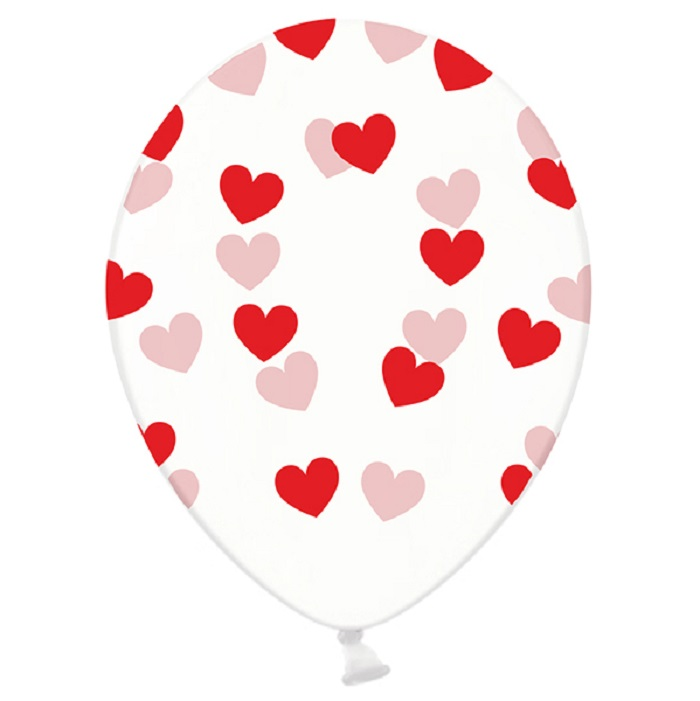 Balony lateksowe Strong w kolorzeCrystal Clear, z czerwonym, pięciostronnym nadrukiem w kształcie serduszek,