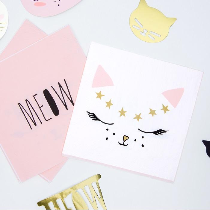 Piękne serwetki dziecięce z kolorze białym i różowym z motywem kotka, idealne na urodzinki
