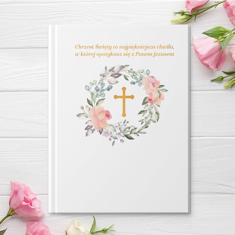 Biblia z krzyżem na okładce, oraz możliwością nadruku własnej personalizowanej dedykacji na okładce