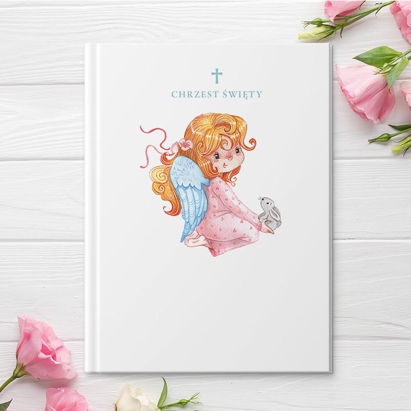 Elegancka biblia dla dzieci jako prezent na chrzest z wizerunkiem uroczego aniołka dziewczynki