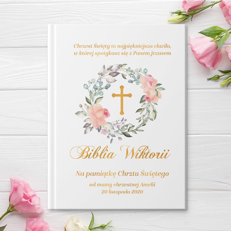 Zdjęcie w galerii - BIBLIA Prezent Na Chrzest z Imieniem Dziecka Krzyż w Wianku