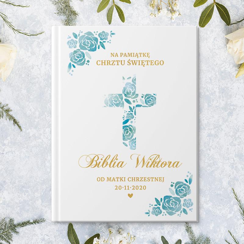 Zdjęcie w galerii - BIBLIA Prezent Na Chrzest Święty z Imieniem Niebieskie Kwiaty