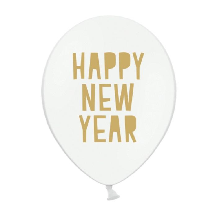 Zdjęcie w galerii - Balony 30 cm, Happy New Year, Pastel Pure White, 6 szt