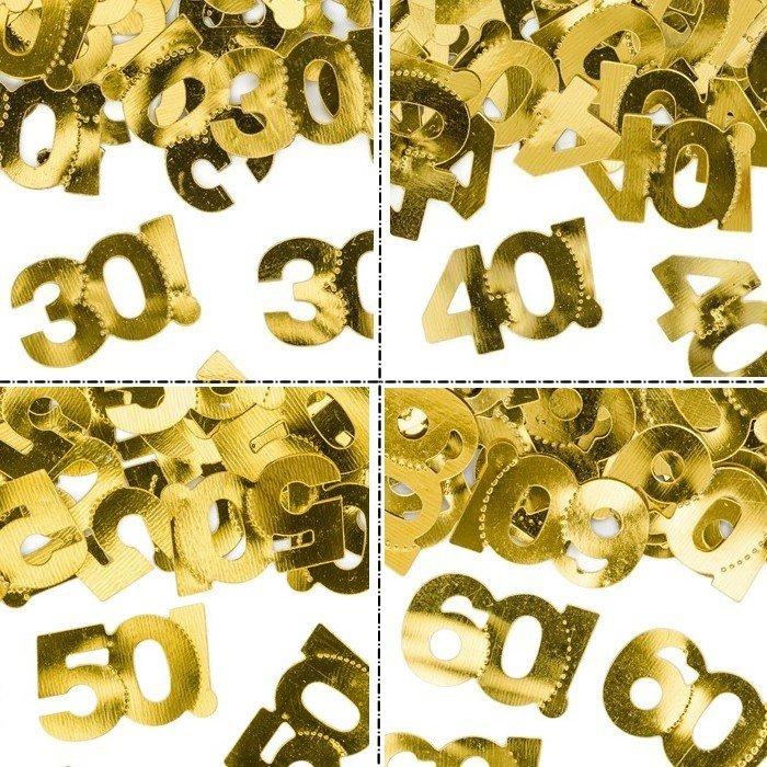 Konfetti złote na okrągłe urodziny dekoracja na stół