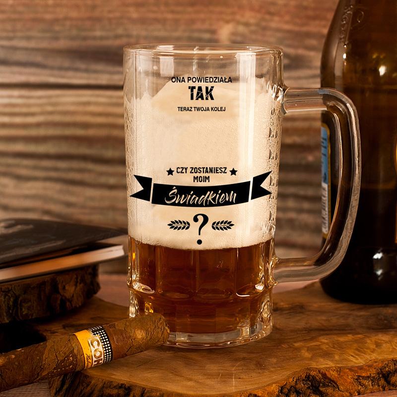 Kufel na piwo z pytaniem o świadkowanie personalizowany