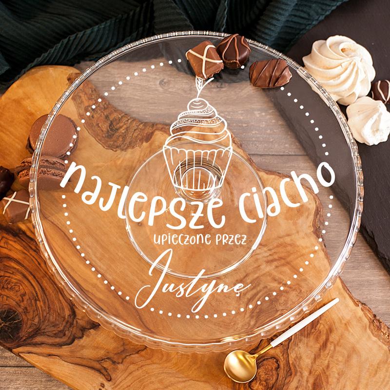 Szklana patera na ciasto z personalizowanym ozdobnym nadrukiem