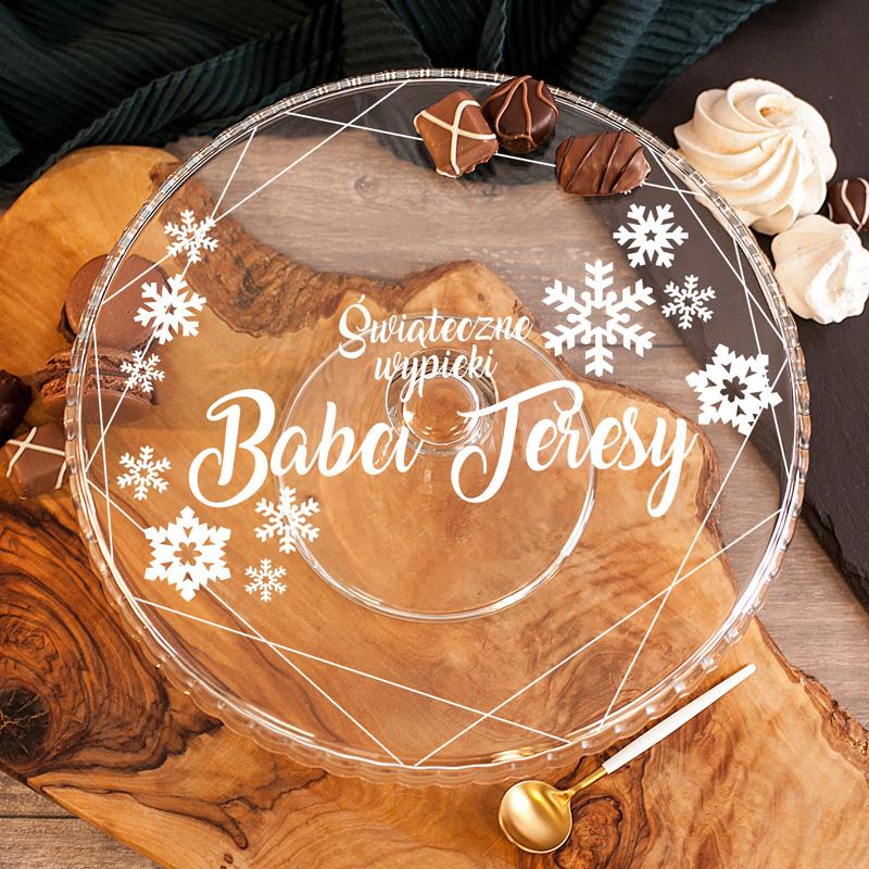 Szklana patera z personalizowanym nadrukiem świątecznym