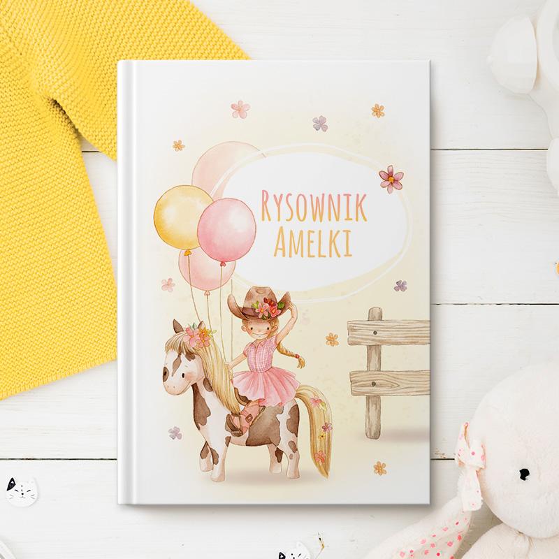 Zdjęcie w galerii - NOTATNIK/RYSOWNIK dla dziewczynki Mała Kowbojka PERSONALIZOWANY
