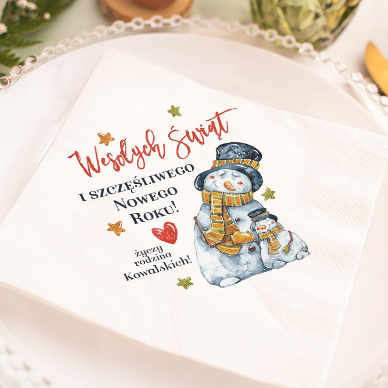 Zdjęcie w galerii - SERWETKA świąteczna personalizowana Bałwanki