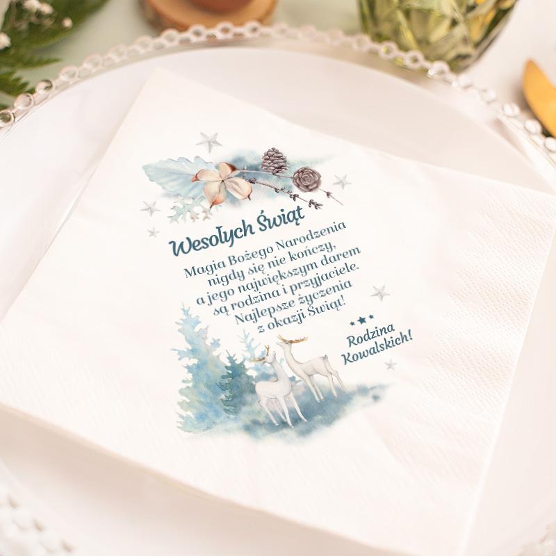 Zdjęcie w galerii - SERWETKA świąteczna personalizowana Zimowa Gałązka 33x33cm