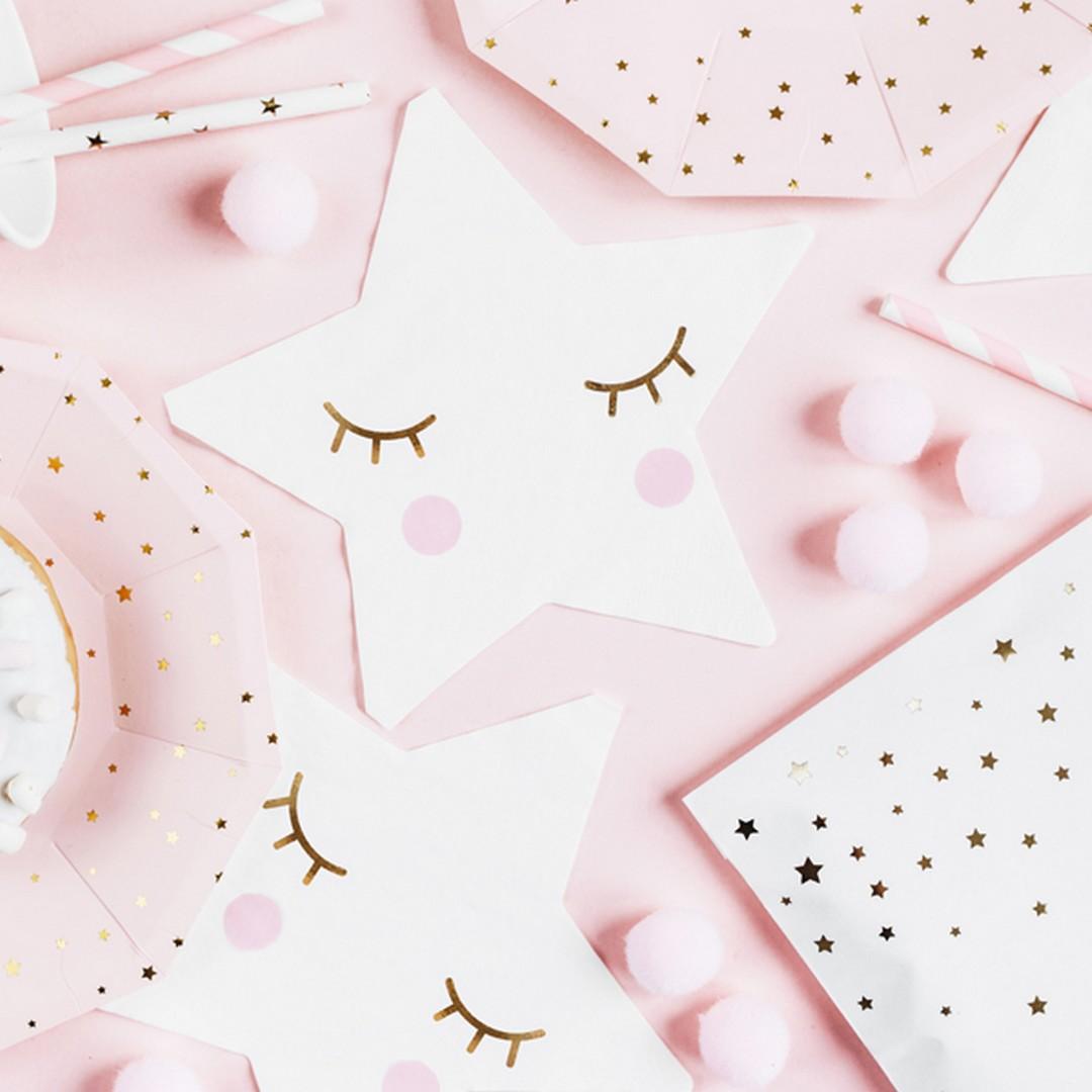 Serwetki papierowe w kształcie gwiazdki z uroczymi rumieńcami na przyjęcie dla dziecka