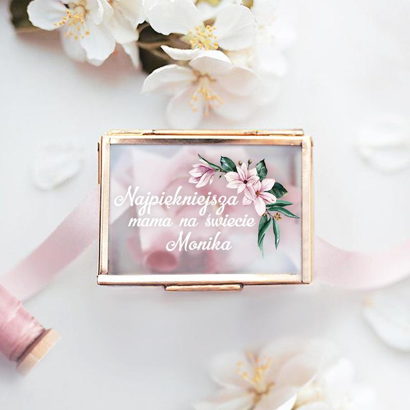 Zdjęcie w galerii - SZKATUŁKA szklana Na Biżuterię Prezent Dla Mamy PERSONALIZOWANA