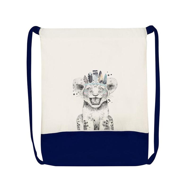 Worek na zabawki dla dziecka, personalizowany plecaczek z imieniem i grafiką lwiątka